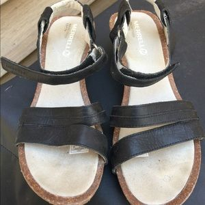 Women's Merrell Black Leather Wedge Sandals 9M EUC